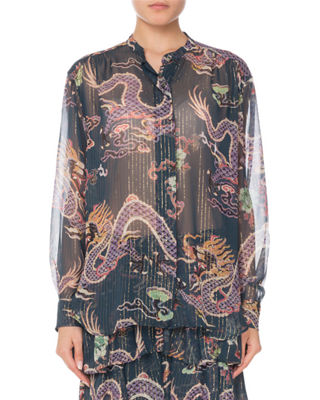 Long-Sleeve Button-Front Dragon-Print Silk Blouse, Blue