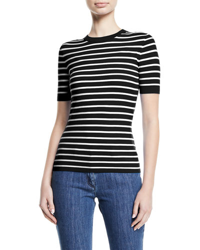 Crewneck Short-Sleeve Striped Stretch-Viscose Top