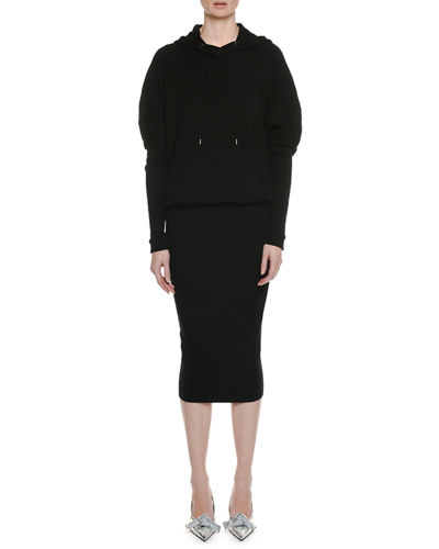 Long-Sleeve Ribbed Stretch-Cashmere Hooded Dress w/ Blouson Top