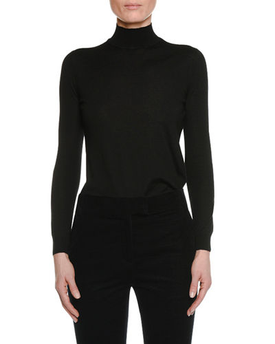 Long-Sleeve Turtleneck Fine Cashmere Sweater