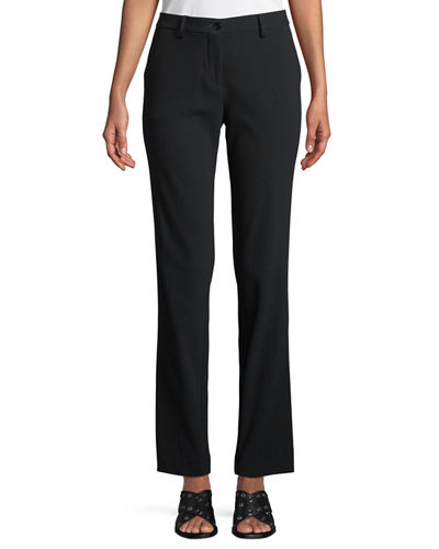 Tab-Front Straight-Leg Stretch-Cady Pants