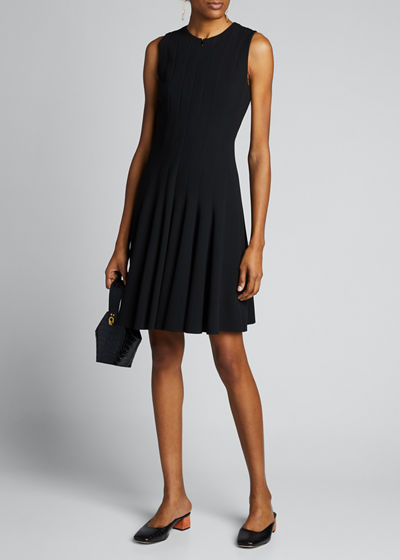 Sleeveless Zip-Front Seamed A-Line Cotton Dress