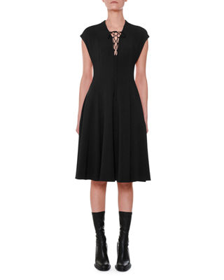 Cap-Sleeve Lace-Up Front A-Line Dress in Black