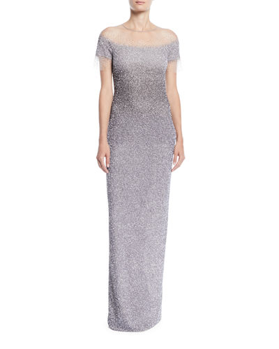 Short-Sleeve Crunchy Sequin Ombre Gown
