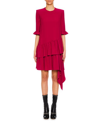3/4-Sleeve Asymmetric Drape Mini Dress, Magenta