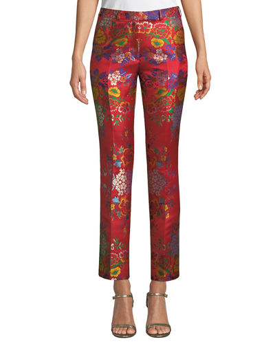 High-Rise Straight-Leg Cropped Floral-Jacquard Pants