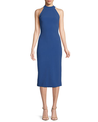 Sleeveless Halter-Neck Stretch-Crepe Mid-Calf Sheath Dress