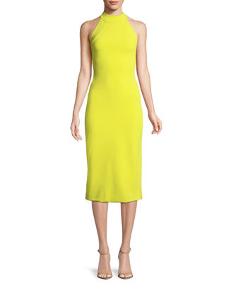 Sleeveless Halter-Neck Stretch-Crepe Mid-Calf Sheath Dress, Lime