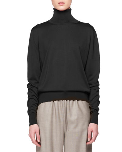 Donnie Turtleneck Long-Sleeve Cashmere Top