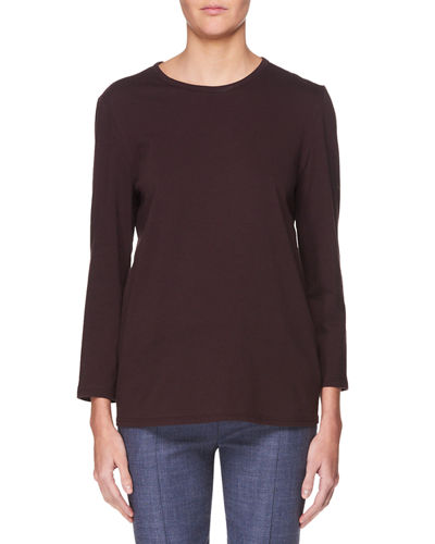 Mave Crewneck Long-Sleeve Cotton Top