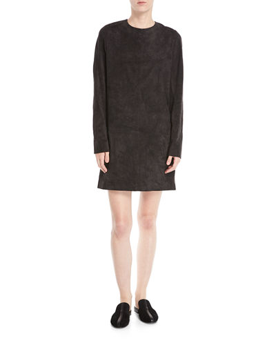 Rani Crewneck Long-Sleeve Short Suede Shift Dress