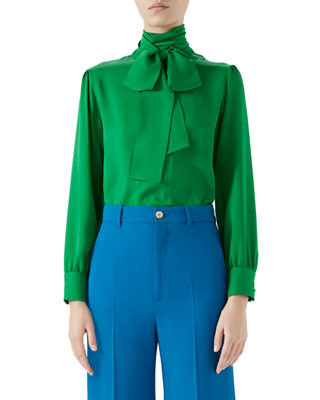 Button-Back Long-Sleeve Scarf-Neck Silk Satin Georgette Blouse, Green