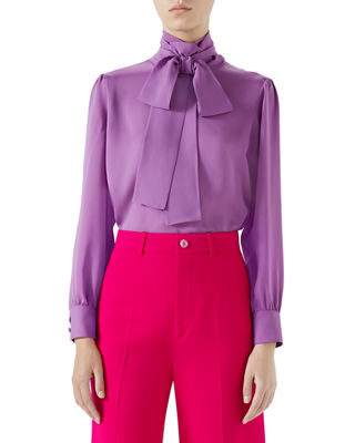 Button-Back Long-Sleeve Scarf-Neck Silk Satin Georgette Blouse in Purple