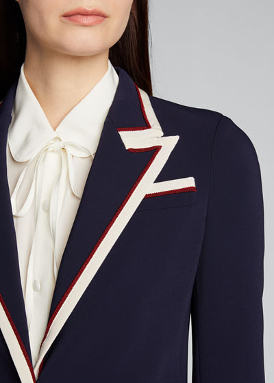 Peak-Lapel Two-Button Cady-Stretch Blazer