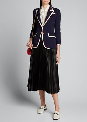 Peak-Lapel Two-Button Cady-Stretch Blazer in Navy