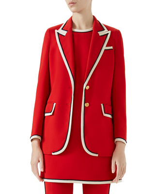 Peak-Lapel Two-Button Cady-Stretch Blazer, Red Stretch Viscose