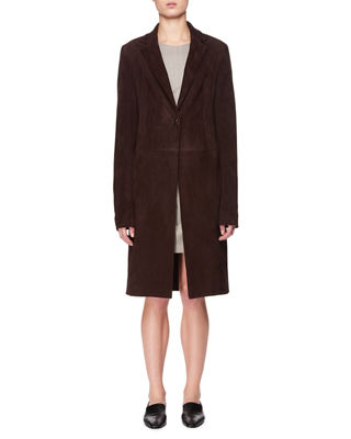 One-Button Lambskin Suede Long Coat The Row