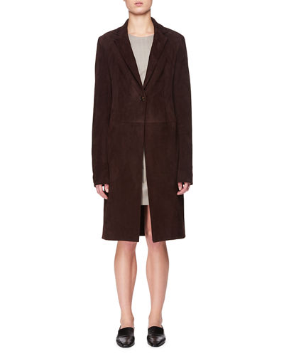 One-Button Lambskin Suede Long Coat The Row New Styles In China Cheap Low Price IXEyh