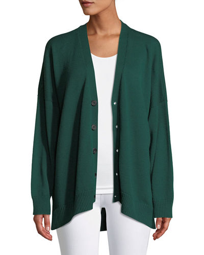 Long-Sleeve Longer-Back Hand-Loomed Merino Wool Cardigan