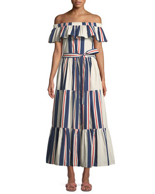DOUBLE J Off-The-Shoulder Striped Cotton Maxi Dress in White