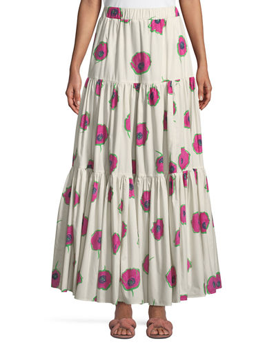 Floral-Print Tiered A-Line Maxi Skirt