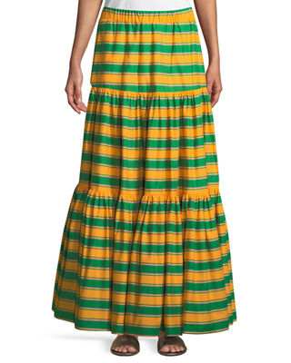 DOUBLE J FLORAL-PRINT TIERED A-LINE MAXI SKIRT