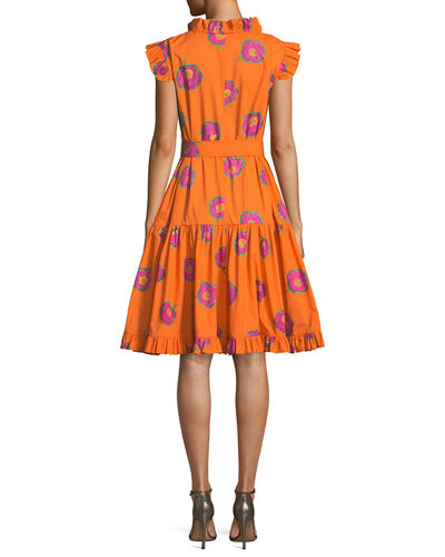 Ruffled-Neck Sleeveless Self-Belt Printed Cotton Dress