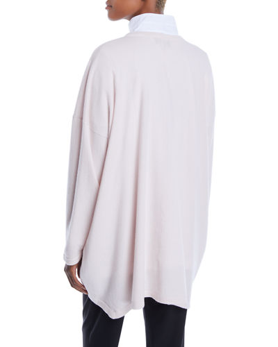 Round-Neck Long-Sleeve Larger Back Cashmere Sweater