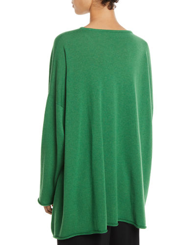 Round-Neck Long-Sleeve A-Line Cashmere Sweater