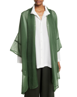 ESKANDAR OPEN-FRONT WIDE SHORT-SLEEVE LONG SILK JACKET