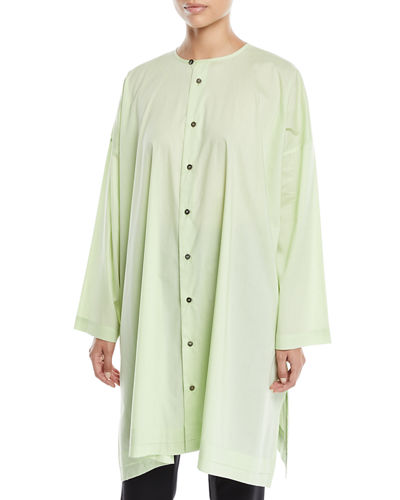 Round-Neck Long-Sleeve Wide A-Line Shirt w/ Pleated Edge Detail