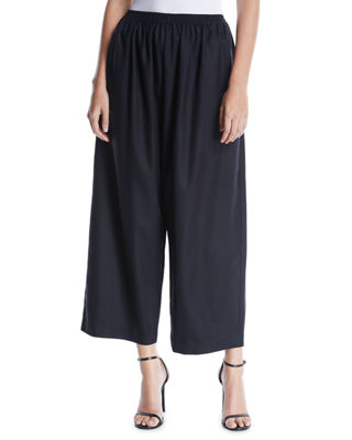 ESKANDAR WIDE-LEG WOOL-CASHMERE CROPPED TROUSERS