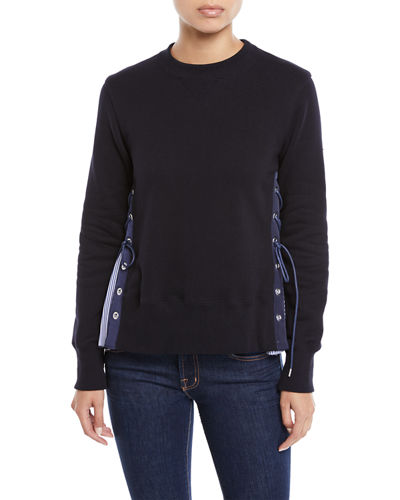 Crewneck Long-Sleeve Sweatshirt w/ Poplin Lace-Up Side