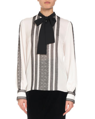 ANDREW GN Long-Sleeve Lace-Trim Silk Blouse W/ Neck Tie in White