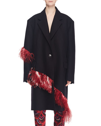 One-Button Wool Coat with Ostrich Feather Trim