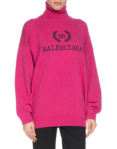 Balenciaga Cashmere-Blend Logo Embroidery Turtleneck Sweater
