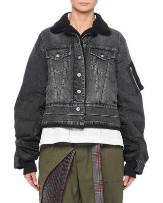 Button-Front Nylon-Back Faux-Shearling Lined Denim Jacket in Black