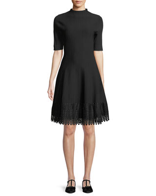 LELA ROSE HIGH-NECK ELBOW-SLEEVE FIT-AND-FLARE KNIT DRESS WITH LACE HEM