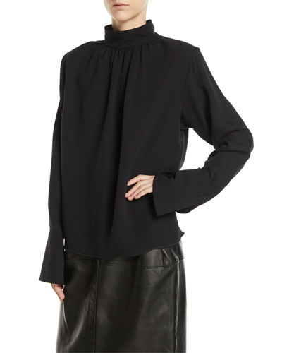 Gathered Mock-Neck Long-Sleeve Silk Blouse w/ Shoulder Pads