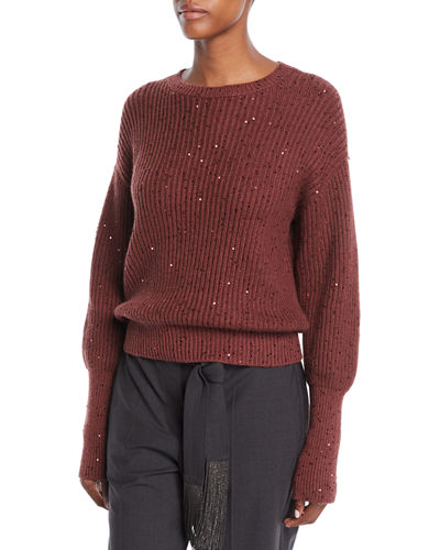 02ff2d1f6a Long-Sleeve Paillette Ribbed Pullover Cashmere-Silk Sweater