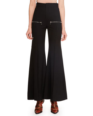 Flared-Leg Wool Pants W/ Zip Details, Black