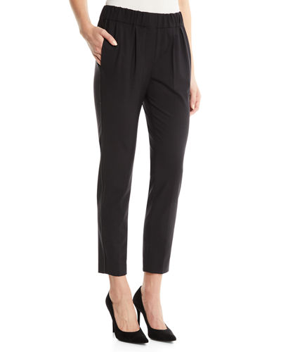 Lightweight Wool Pull-On Pants w/ Monili Trim