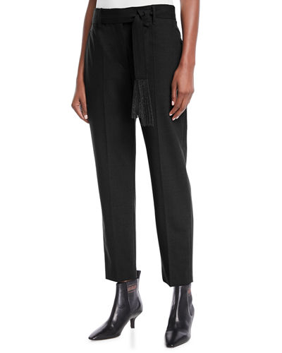 Brunello Cucinelli Lightweight Wool Straight-Leg Zip Pants with