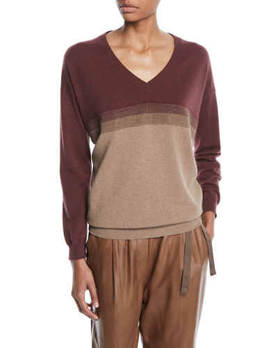 Brunello Cucinelli V-Neck Long-Sleeve Colorblock Knit Cashmere