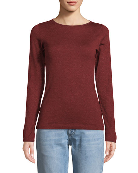 Brunello Cucinelli Knits BOAT-NECK LONG-SLEEVE METALLIC-KNIT PULLOVER