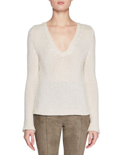 Aetra V-Neck Long-Sleeve Cashmere-Blend Top