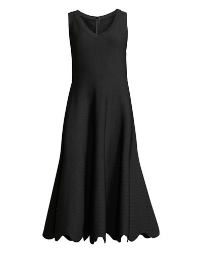 Scallop-Hem Wavy-Seam Sleeveless Dress