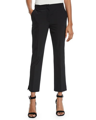 Mid-Rise Flat-Front Straight-Leg Cropped Pants