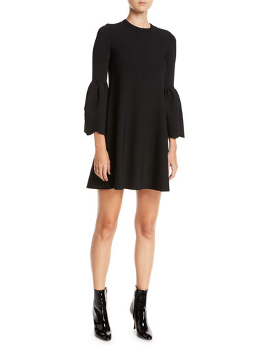 Jewel-Neck Bell-Sleeve Stretch-Knit Mini Dress