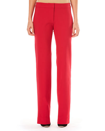 Mid-Rise Side-Stripe Straight-Leg Stretch-Wool Tuxedo Pants